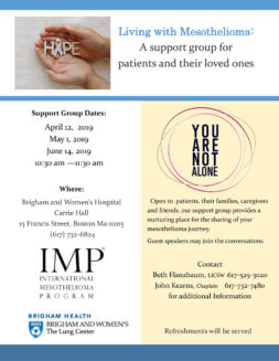 Flyer about Mesothelioma Support